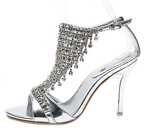 SEXYHER Sparkling Diamond 2.8 Inches High Heel Wedding Party Shoes - SHOMQ1088-DKSZ-2.8 Silver 86HgQPfp