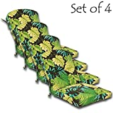 SET OF 4 Outdoor Dining Chair Cushion 46'' x 20'' x 4.5'' (Seat: 21''; Back: 25'') Polyester fabric Tropique Peridot by Comfort Classics Inc.