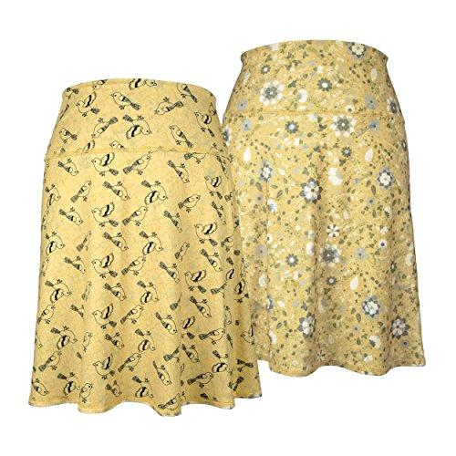 Reversible Skirt Spandex (Green 3 Novelty Reversible Skirt - Womens Athleisure Sport Skirt, Made in The USA (Birds + Floral Reversible, Medium))