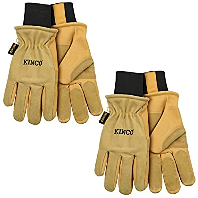 Kinco 901 Mens Ski / Work Winter Gloves (2-pack) w 3-sachets of Nikwax Waterproofing for each Glove. Durable Pigskin Leather Out Wears regular Cowhide and Fabric Ski Gloves.