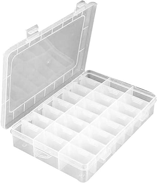 Dergtgh 24 cuadrículas Transparente Caja de Almacenamiento de ...