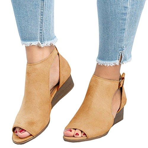 Minetom Sandalias De Mujer Verano Cuña Peep Toe Cabeza Pescado Zapatos De  Tacón Alto Chancletas Zapatillas 245e2540aba1