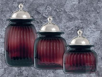 Plum Purple Grape Color Kitchen Glass Canister Set With Pewter Lids
