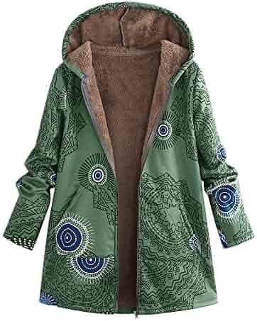 9580232e265 Winter Warm Outwear Print Hooded Pockets Vintage Oversize Coats Women
