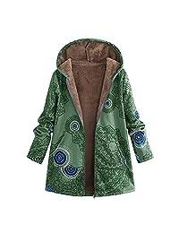 Amzeca Womens Winter Warm Outwear Floral Print Hooded Vintage Oversize Coats