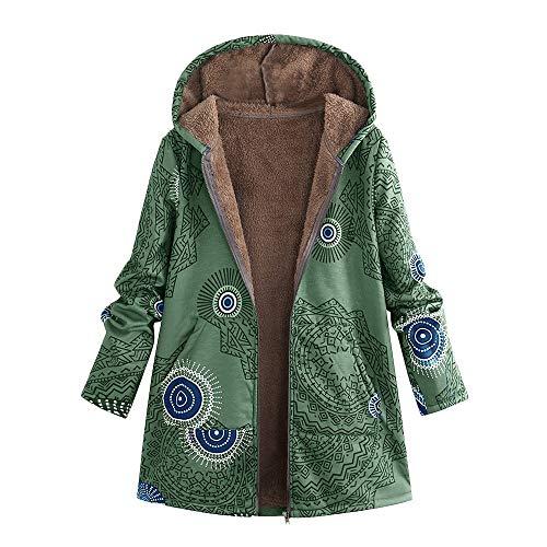 Surdimensionné Manteau Dames L'hiver Des Femmes Les Vêtements Poches b Vintage À Capuche Imprimé Vert Floral Chaud Lonshell Veste qZRtI7
