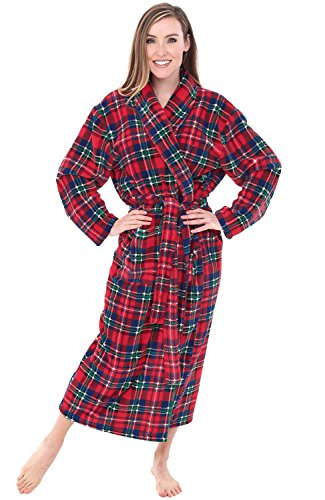 (Alexander Del Rossa Womens Plush Fleece Robe, Warm Bathrobe, Small Medium Blue Red and Green Christmas Plaid (A0117Q19MD))