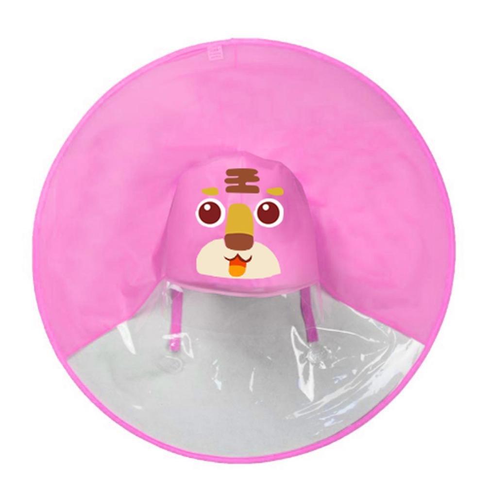 UFO Rain Hat, Shybuy Toddler Kids Cute Cartoon Foldable Wearable Raincoat/Hat Hands Free Umbrella (Pink 2, 70.5cm/27.75'')