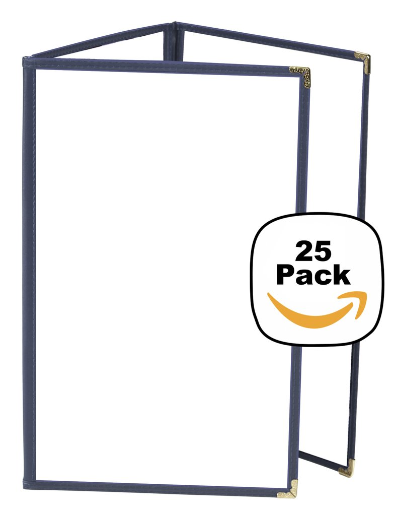 JR SALES CORP, VAL-C811-BLUE, 25 Pack of Menu Covers, Trifold, 6 Views, Holds 8.5'' x 11'' Inserts, Blue Leatherette Trim, Gold Decorative Corners, 10 Gauge Crystal Clear Panels,Restaurant Quality