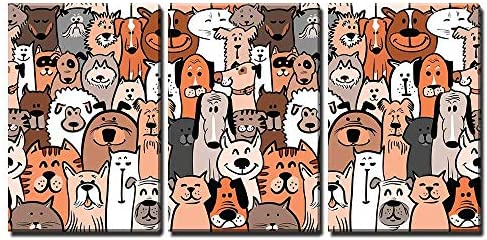 Doodle Dogs and Cats Seamless Pattern x3 Panels