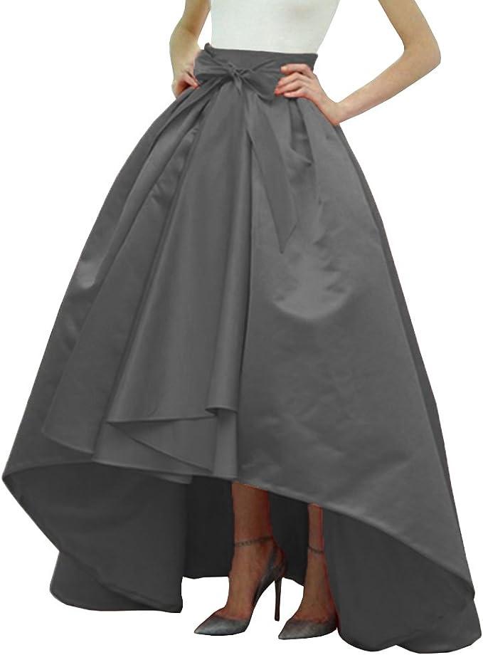 Boda Novia alta baja de satén de Lady Mujer A-Line Falda Negro ...