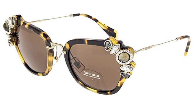 75d001d43c Image Unavailable. Image not available for. Color  MIU MIU RUNWAY JEWEL 03S  Brown Tortoise Sunglasses MU03SS