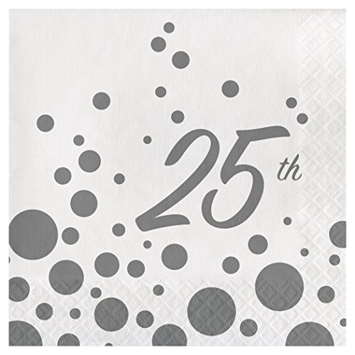 Creative Converting 317850 16 Count 25th Anniversary Paper Lunch Napkins, Sparkle and Shine Silver (25th Napkins Anniversary)