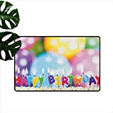 """Anzhutwelve Kids Birthday,Machine Washable Carpet Celebration Colorful Candles on Party Cake with Abstract Blurry Backdrop 36""""x42"""",Floor Door Mat for Kids Room"""