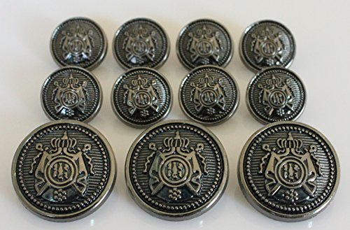 YCEE 11 Piece Antiqued Black Silver Metal Blazer Button Set - Crown Phoenix - For Blazer, Suits, Sport Coat, Uniform, Jacket