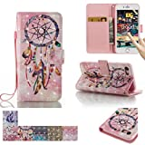 iPhone 7 Case, Firefish Kickstand Flip [Card Slots] Wallet Cover Double Layer Shell with Magnetic Closure Strap Protective Case for Apple iPhone 7 -Dreamcatcher