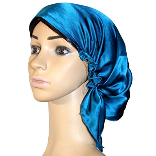 Silk Bonnet Sleeping Hat for Women, Large Silk Sleep Cap Night Head Cover for Girls Natural Hair Curly Hair Loss, Peacock Blue