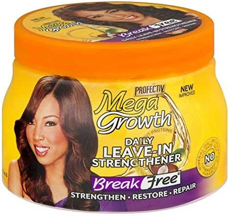 Mega Growth Break Free Daily Leave-In Strengthener - Restore & Repair Damaged Hair, Stops Chemical Damage, Moisturizes, Correct Breakage, Contains Olive Oil, Shea Butter & Avocado Oil, 15 oz