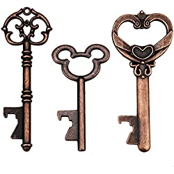 Vintage Skeleton Key Bottle Openers for Wedding Party Favors Rustic Decoration (Pack of 45, Copper)