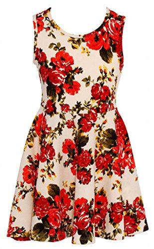 Wonder Girl Watercolor Big Girls' Jacquard Floral Print Skater Dress 6 Ivory