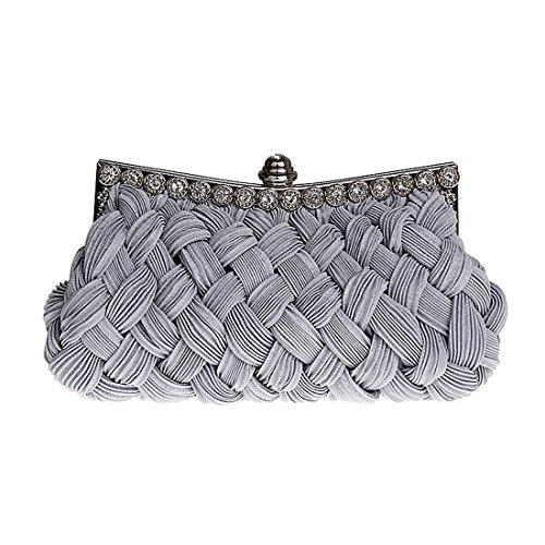 HT Evening Bag - Cartera de mano para mujer gris