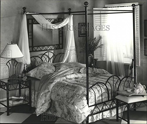 Black Wrought Iron Canopy Bed (1996 Press Photo Canopy bed, wrought-iron bench, beside table, lamp at JCPenny)