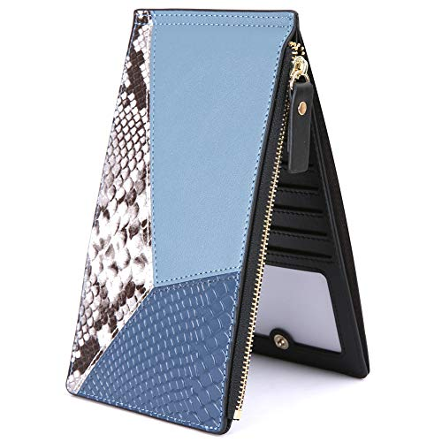 Lomendio Womens Genuine Leather Wallet RFID Blocking Credit Card Holder Multi Card Organizer with Zipper Pocket (Blue) (Best Credit Cards For 640 Score)