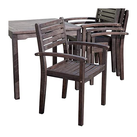 DTY Outdoor Living Leadville Square 5-Piece Eucalyptus Dining Set, Espresso Finish - FOREST STEWARDSHIP COUNCIL CERTIFIED: Go Green! Our FSC Eucalyptus is sustainable, eco-friendly wood and a renewable resource from well managed forests that are Forest Stewardship Council certified BUILT TO LAST: Created from 100% eucalyptus this dining set is naturally weather resistant and will stand up to the elements, perfect for any climate. Its high oil content repels bugs and helps protect it from moisture, UV rays, decay and rot. STYLISH DESIGN: Casual yet stylish this beautiful 5-piece square dining set is sure to make your summer gatherings a success. The set features a table and 4 stacking arm chairs for easy storage. - patio-furniture, dining-sets-patio-funiture, patio - 51A0WvChx2L. SS570  -