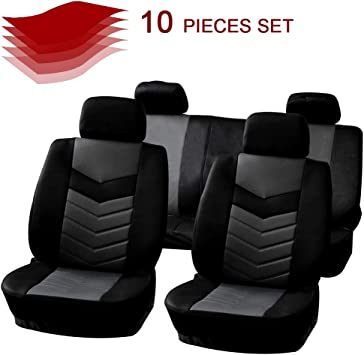 SCITOO Universal Black//Red Car Seat Cover w//Headrest Cover 8PCS Breathable Embossed Cloth Retractable Auto Cover Replacement for Most Cars