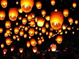 50 White Paper Chinese Lanterns Sky Fire Fly Candle Lamp Wish Party Wedding