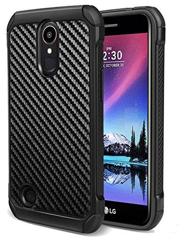 LG K20 Plus Case, LG K20 V Case, LG K10 2017 Case, LG Harmony Case, LG LV5 Case, WORLDMOM Impact Resistant Rugged Carbon Fiber Texture Back Hybrid Shock Absorbing Anti-scratch Protective Case, Black