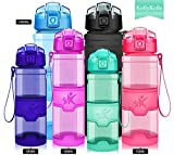 KollyKolla Water Bottle BPA Free Tritan, Opens with 1-Click Flip Top Leak-Proof Lid, Kids Drinks Bottle, Reusable Water Bottles with Filter, for Sports, Outdoors, Gym, Yoga, (380ml Glossy Emerald)