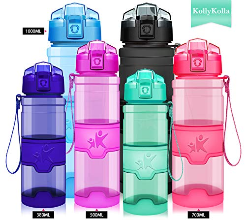 KollyKolla Water Bottle BPA Free Tritan, Opens with 1-Click Flip Top Leak-Proof Lid, Kids Drinks Bottle, Reusable Water Bottles with Filter, for Sports, Outdoors, Gym, Yoga, (1L Glossy Emerald)