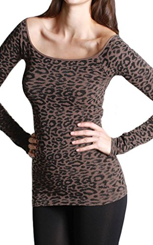 Nikibiki Seamless Big Leopard Print Long Sleeve Boatneck Top, One Size, - Boatneck Print Top