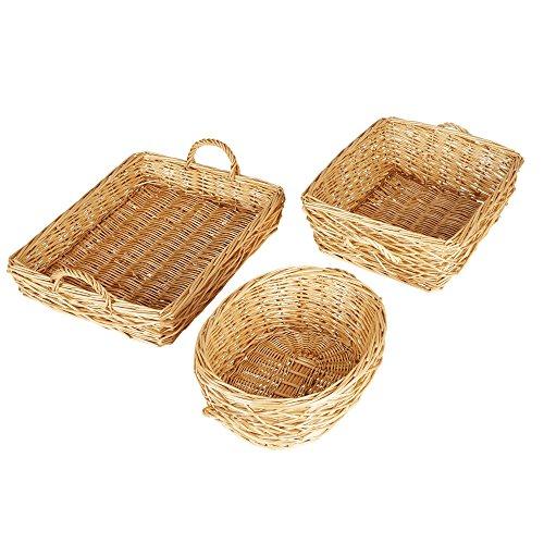 Household Essentials Spring Bird Nest Willow Wicker Basket Set, 3 Pc Set, Light Brown