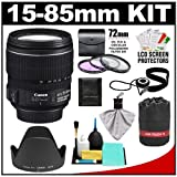 Canon EF-S 15-85mm f/3.5-5.6 IS USM Zoom Lens with 3 UV/FLD/CPL Filters + Hood + Pouch + Accessory Kit for EOS 60D, 7D, Rebel T3, T3i, T4i Digital SLR Cameras, Best Gadgets