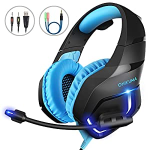 MillSO K1 Gaming Headset for PC, PS4, Xbox One, Stereo Over-Ear Noise Cancelling Headphones with Mic, LED Light, Soft Memory Earmuffs and Volume Control for Laptop Mac Nintendo Switch Games - Blue