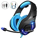 MillSO K1 Gaming Headset for PC, PS4, Xbox One, Stereo Over-Ear Noise Cancelling Headphones with Mic, LED Light, Soft Memory Earmuffs and Volume Control for Laptop Mac Nintendo Switch Games – Blue Review