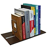 C-Line Adjustable Book Tray with Sliding Chrome Supports/Dividers, 8-5/8 x 17 Inches, Brown (30248)