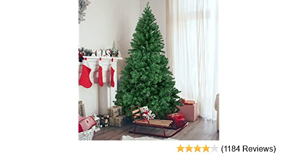 amazoncom best choice products 6ft premium hinged artificial christmas pine tree w easy assembly solid metal legs 1000 tips green home kitchen - Amazon White Christmas Tree
