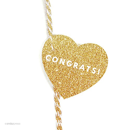 Andaz Press Heart Gift Tags, Modern Style, Congrats!, Printed Gold Glitter, 30-Pack