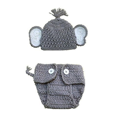[Baby Photography Props Costume, FTXJ Elephant Ears Knitted Hat with Shorts Diaper Cover (Boy)] (Baby Wearing Elephant Costume)