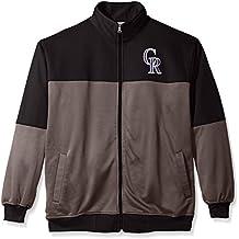 MLB Colorado Rockies Men's Poly Fleece Yoked Track Jacket with Wordmark Logo, 2X, Black/Gray