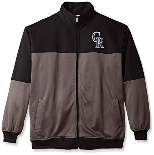 MLB Colorado Rockies Men's Poly Fleece Yoked Track Jacket with Wordmark Emblem, 2X/Tall, Black/Gray – Sports Center Store