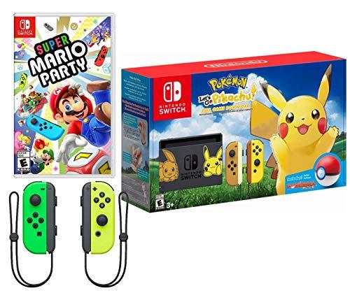 Nintendo Switch Pokemon and Mario Bundle: Nintendo Switch Pokemon Let's Go Pikachu Edition Bundle, Super Mario Party with Extra Neon Green and Yellow Joy-Con