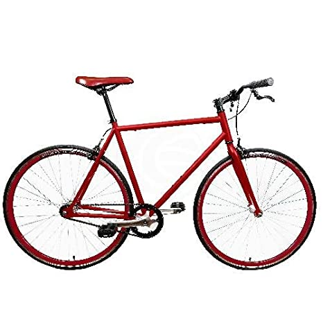 Bicicleta fixie roja talla M para altura 160-175cm: Amazon.es ...