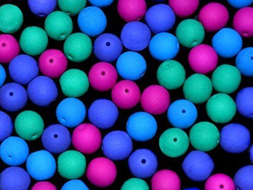 32pcs-8mm-czech-glass-round-pressed-beads-estrela-neon-uv-active-dark-neon-mix