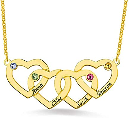 Personalized Love Heart Necklace Birthstone Family Name Necklaces Women Jewelry