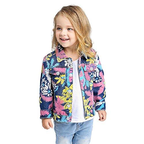 Yilaku Little Girls Coats Denim Jackets Cute Flower Outwear 2-8 Years (Pink, 2-3 Years) Denim Barn Coat