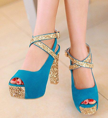 Bal Talon Aisun Plateforme Sexy Paillettes Bleu Sandales Bloc Femme Haut T0PqxpwP